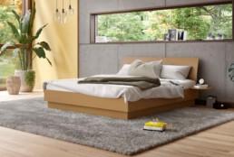 Bett Izzy von Interlübke. Dieses und andere schöne Modelle jetzt bei Betten Hösnscheidt in der Schadowstraße.